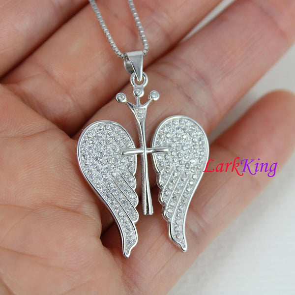 Sterling silver winged cross necklace, angel wings necklace , winged cross scepter pendant, cross necklace, christian cross gift, NE8348