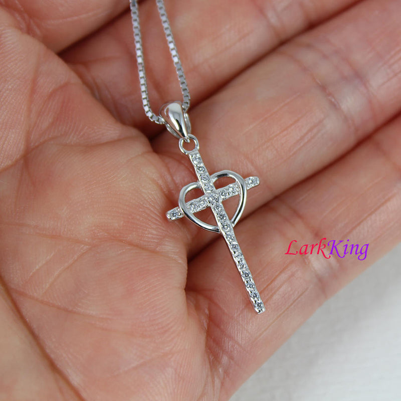Sterling silver cross necklace, heart cross necklace, small cross necklace, unique cross heart pendant, girls cross, christian cross, NE8357