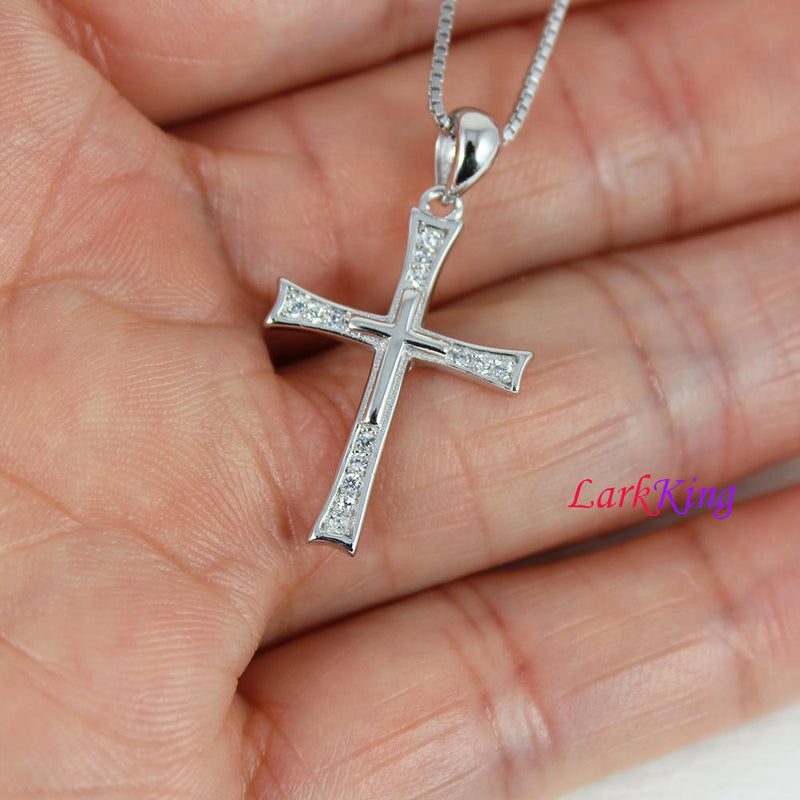 Sterling silver cross necklace, double layers cross necklace, cross necklace women, girls cross, christian necklace, christian cross, NE8358