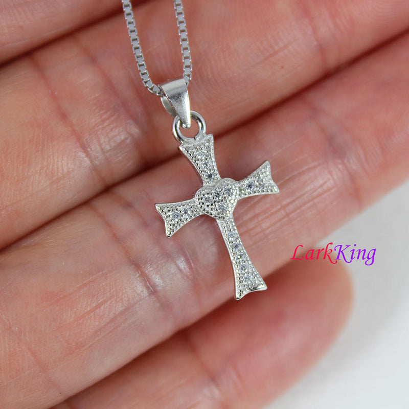 Tiny cross necklace, sterling silver heart cross necklace, zircon crystal cross,  religion cross necklace, christian jewelry,  NE8376