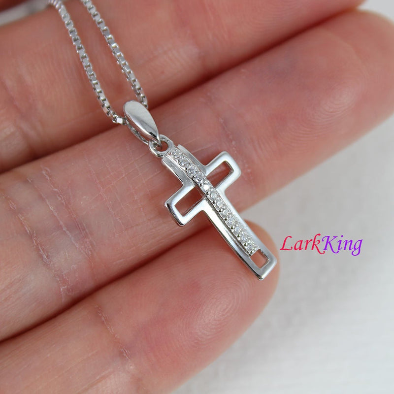 Tiny cross necklace, sterling silver cross necklace, zircon cross, simple cross pendant, religion cross necklace, christian cross,  NE8381