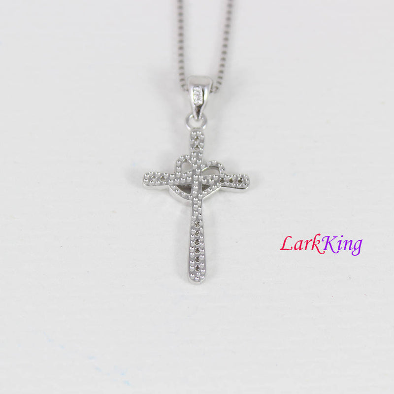 Small cross necklace, sterling silver heart cross necklace, zircon crystal cross, double heart cross pendant, christian jewelry,  NE8386