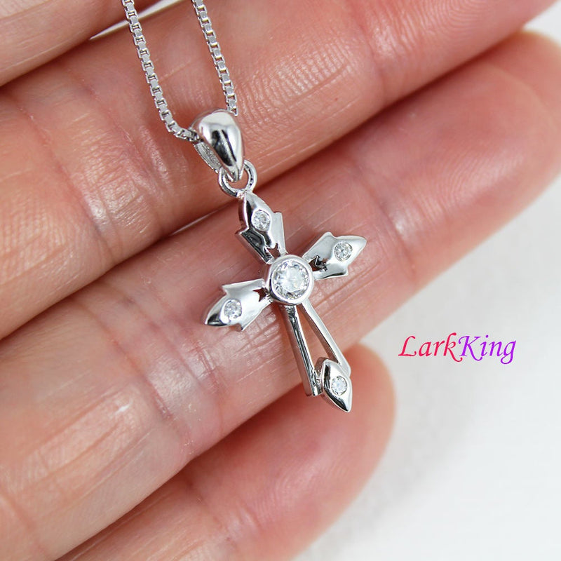Sterling silver small cross necklace, tiny cross necklace, zircon crystal cross pendant, christian cross necklace, religion jewelry, NE8393