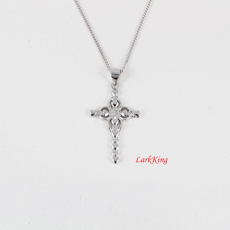 Cross necklace, sterling silver cross heart necklace, flower cross, zircon cross, cross necklace women, baptism gift, cross jewelry, NE8217