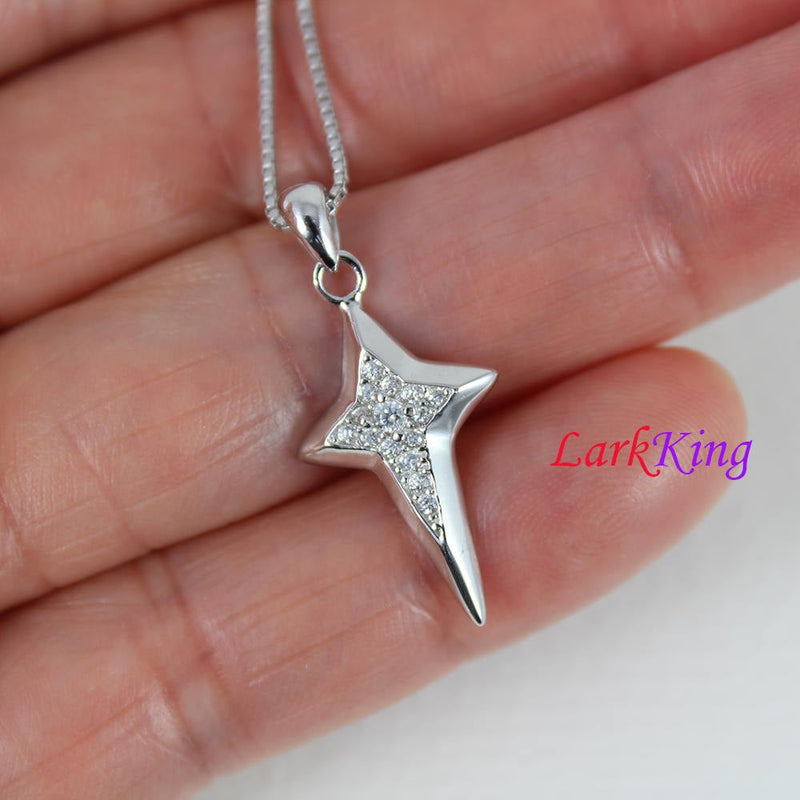Sterling silver small cross necklace, star necklace, zircon crystal star cross pendant, girls necklace, religion necklace,  NE8401