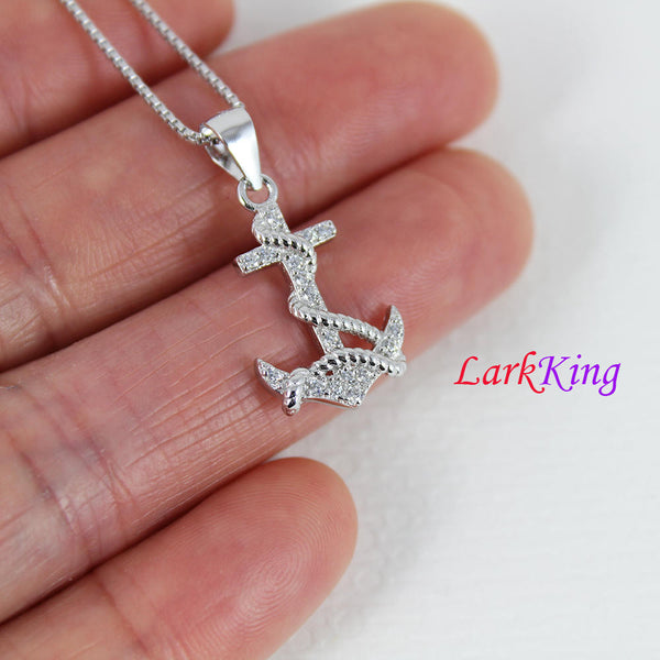 Sterling silver anchor necklace; sailor necklace, cross anchor necklace, cross rope anchor pendant, best friend necklace, sail gift, NE8403
