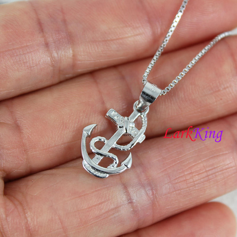 Sterling silver cross anchor necklace; sailor necklace, tiny cross rope anchor necklace, best friend necklace, boys anchor necklace, NE8404