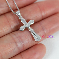 Sterling silver cross necklace, small Jesus cross pendant, crucifix cross, boys cross, religious cross, first communion gift, NE8406