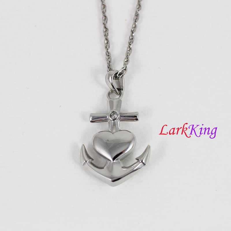Stainless steel double sided anchor necklace, heart anchor pendant, sailor necklace, friendship necklace, sailing gift, Larkking NE7112