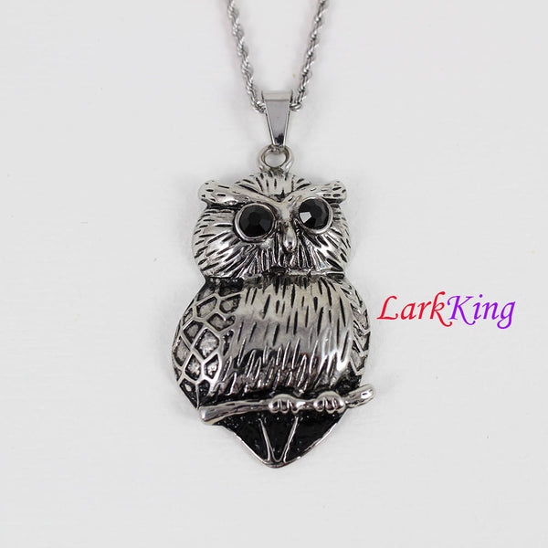 Stainless steel owl necklace, big fat cute owl necklace, owl on branch pendant, owl necklace for boy, owl necklace for girl, LarkKing NE7088