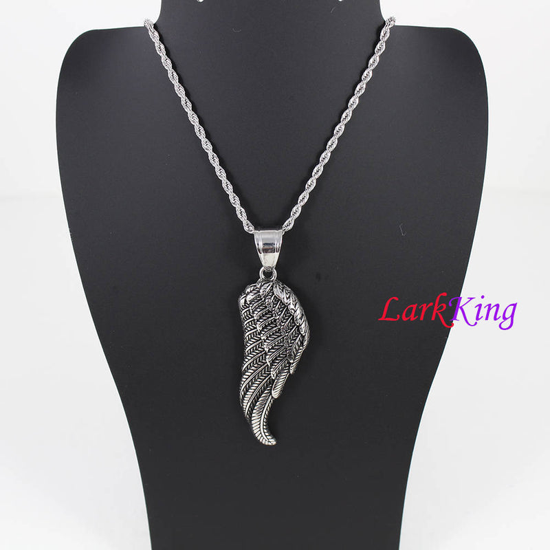 Stainless steel wing necklace, bird necklace, nature necklace, angel wing necklace, feather necklace, girls necklace, Larkking NE7120