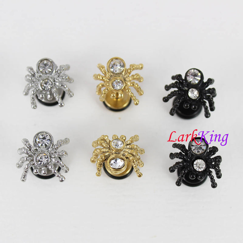 Spider stud earrings, black stud earrings, gold studs, insect studs, statement earrings, surgical stainless steel studs, Larkking SE3516