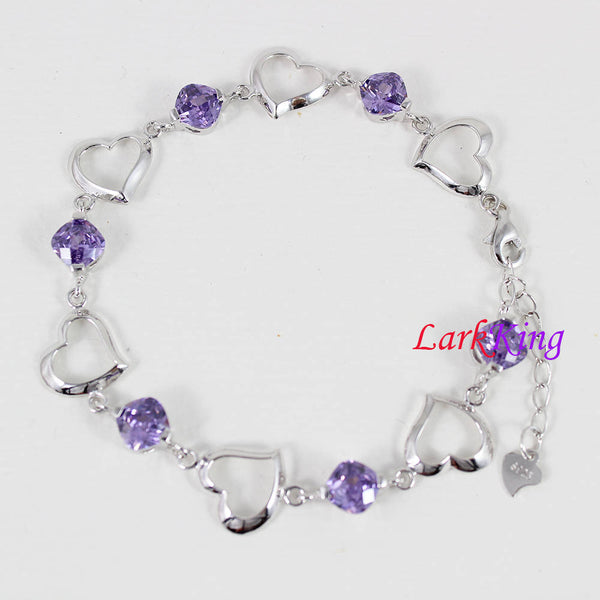 Sterling silver purple gemstone bracelet, zircon stone bracelet, silver heart chain, bridesmaid gift, gift for girlfriend, Larkking LK9005