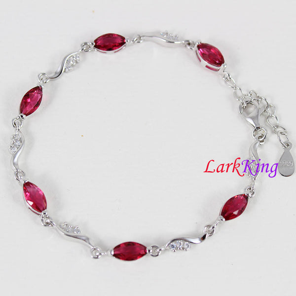 Sterling silver red gemstone bracelet, zircon stone bracelet, unique silver chain, bridesmaid gift, gift for girlfriend, Larkking LK9004