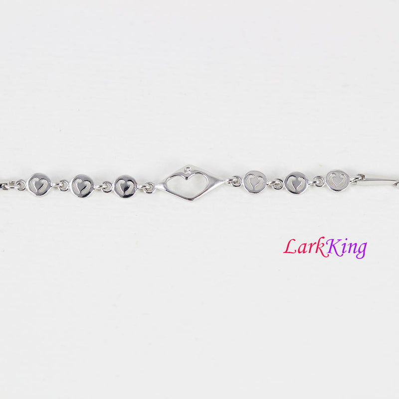 Sterling silver bracelet, silver heart chain, heart bracelet, unique chain, bridesmaid gift, best friend gift, gift for girlfriend, LK9011