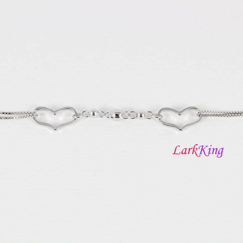 Sterling silver bracelet, unique silver heart chain, double hearts bracelet, bridesmaid gift, best friend gift, gift for girlfriend, LK9010