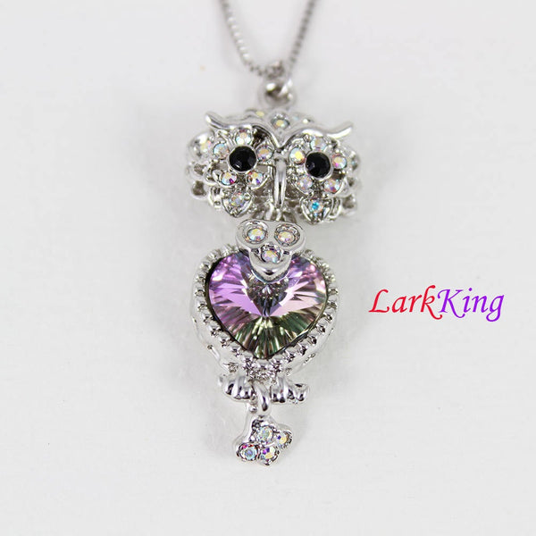 White gold plating stainless steel owl necklace, owl  with rhinestone crystal pendant, cute girl necklace, gift for best friend, NE4001