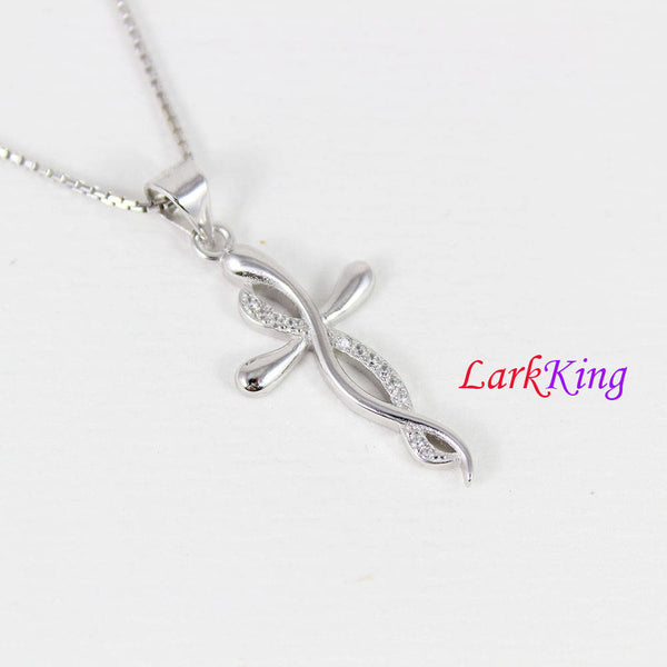 Sterling silver infinity cross necklace, infinity necklace, cross necklace, infinity cross pendant, christian jewelry, Larkking NE8421