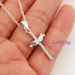 Angel wings cross necklace, sterling silver cross necklace, wings cross necklace, wings pendant, christian necklace, christian cross, NE8418