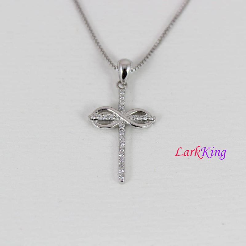 Sterling silver cross necklace, infinity cross necklace, girl cross necklace, christian necklace, unique cross pendant, gift for her, NE8329