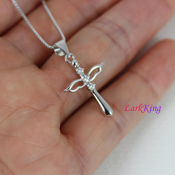 Small angel wings cross necklace, sterling silver angel cross pendant, cross necklace, wings necklace, unique cross pendant,  NE8332