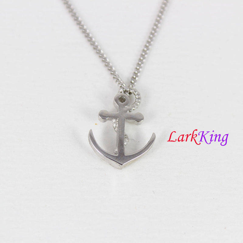 Sterling silver cross anchor necklace, sailor necklace, small anchor necklace, girls anchor, boys anchor, best friend necklace, NE8424