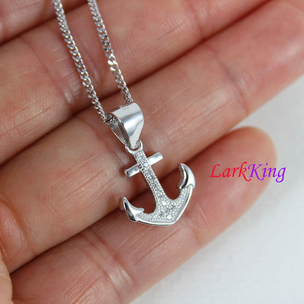 Sterling silver cross anchor necklace, sailor necklace, hooked anchor necklace, boys necklace, best friend necklace, sailing gift, NE8425