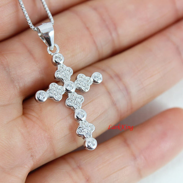 Sterling silver cross necklace, silver cross, flower cross necklace, girl cross, cross necklace women, christian cross, cross gift, NE8238