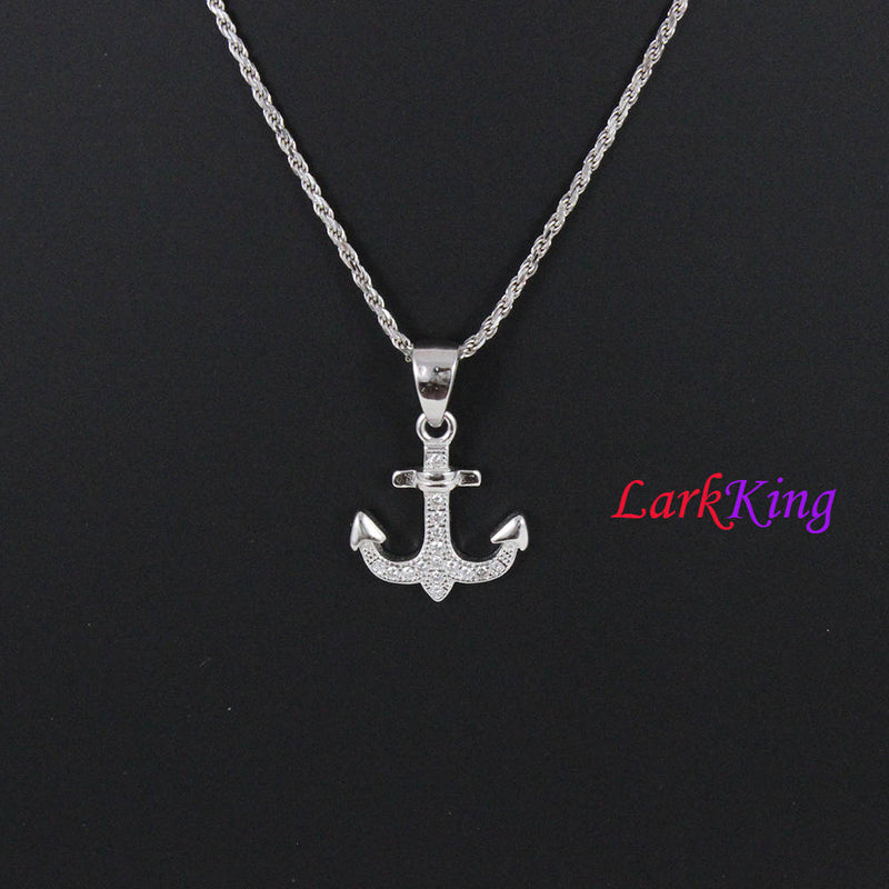 Sterling silver cross anchor necklace, sailor necklace, hooked anchor necklace, boys necklace, best friend necklace, girls necklace, NE8426