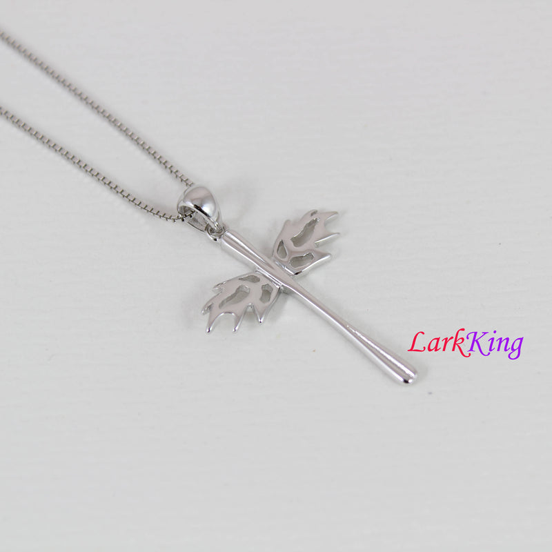 Sterling silver cross necklace, wings necklace, cross wings necklace, cross charm, girl cross, unique cross pendant, christian cross, NE8313