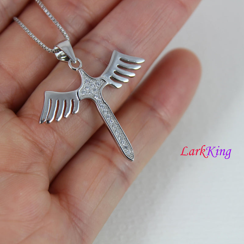Sterling silver cross necklace, wings necklace, cross wings necklace, sword necklace, cross sword necklace, cross, christian cross, NE8315