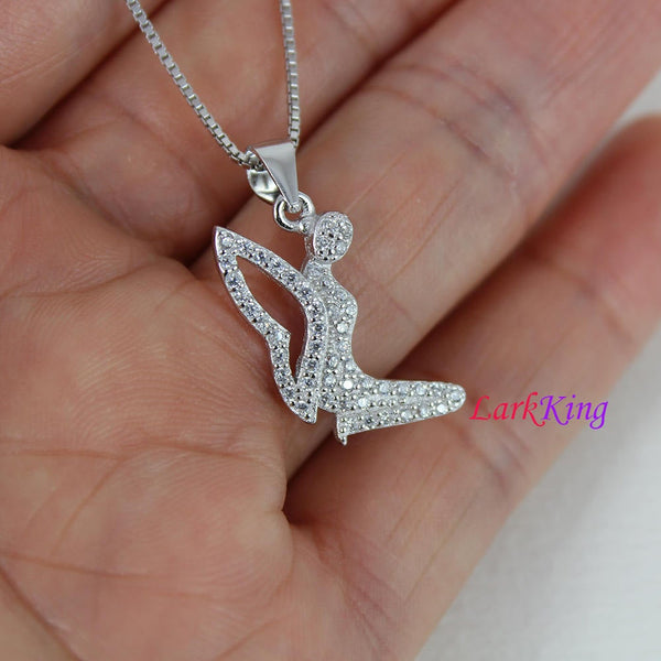 Sterling silver angel necklace, angel wings necklace, small angel necklace, necklace for women, christian gift, christian cross, NE8335