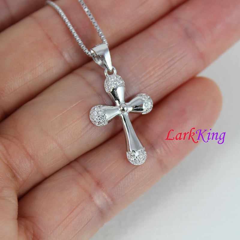 Sterling silver small cross necklace, cross necklace, girl cross necklace, religion necklace, cross necklace women, Christian gift,  NE8342