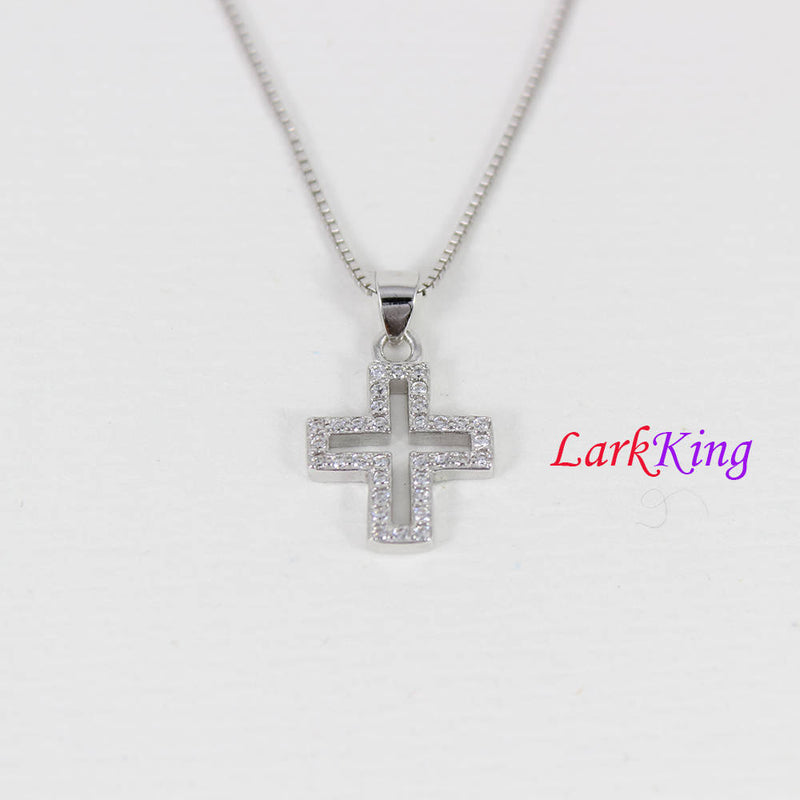 Tiny cross necklace, sterling silver cross necklace, zircon crystal cross, necklace cross, religion necklace, christian jewelry,  NE8345