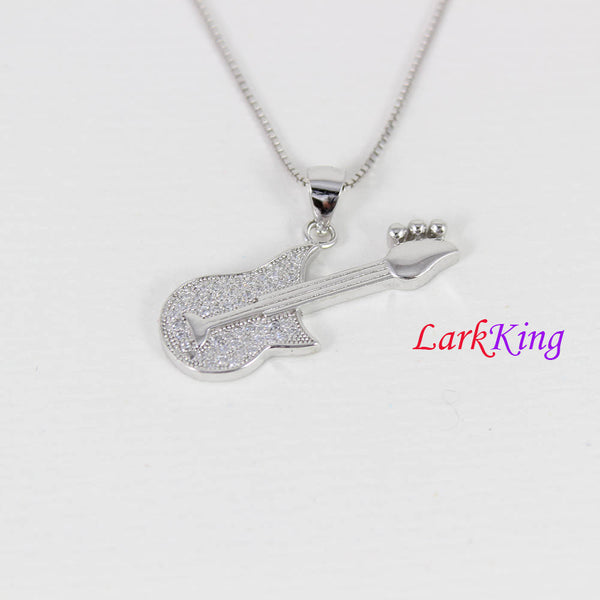 Sterling silver guitar necklace, musical instrument necklace, rock music necklace, boys necklace, statement necklace, guitar men, NE8346