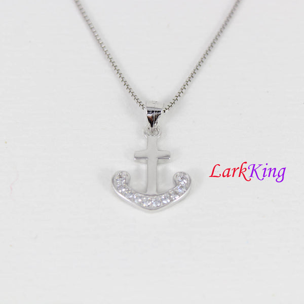 Sterling silver anchor cross necklace, sailor necklace, small anchor necklace, girls anchor, boys anchor, best friend necklace, NE8351