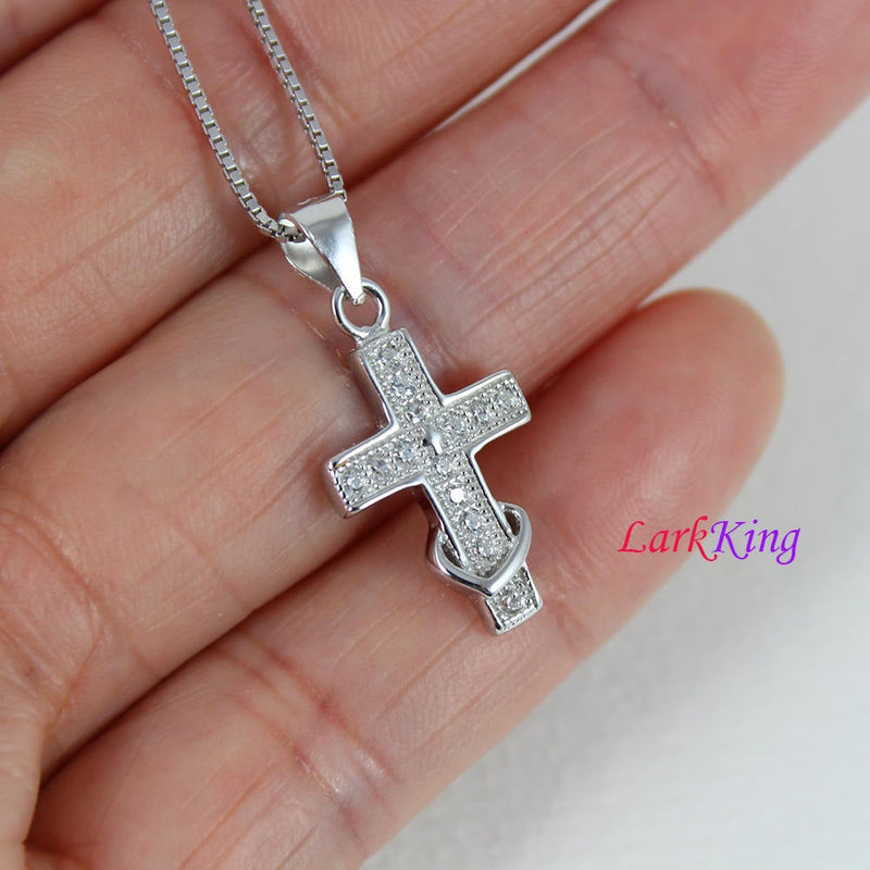 Sterling silver cross necklace, heart cross necklace, small cross necklace, tiny cross heart necklace, girls cross, christian cross, NE8365