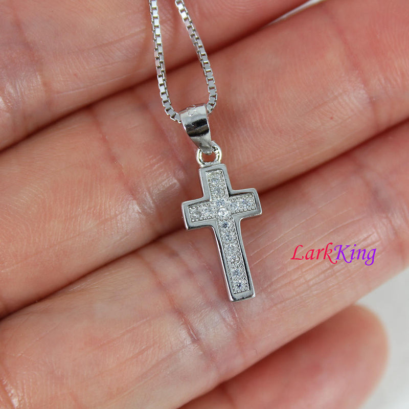 Tiny cross necklace, sterling silver cross necklace, zircon crystal cross, simple cross, religion cross necklace, christian jewelry,  NE8375