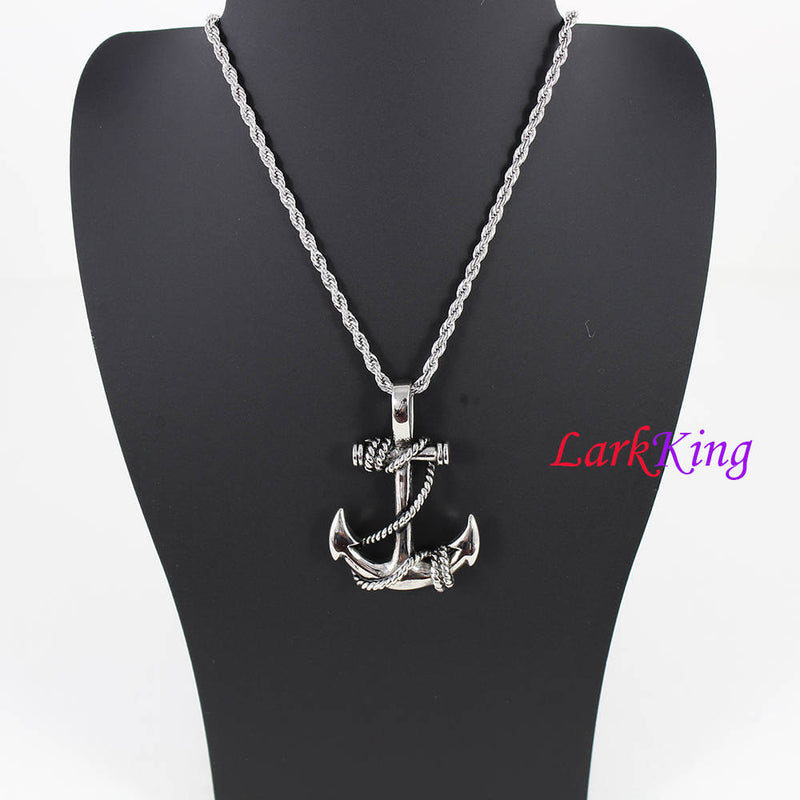 Double sided anchor rope necklace, nautical necklace, rope anchor pendant, sailor necklace, men necklace, graduation gift, LK7027