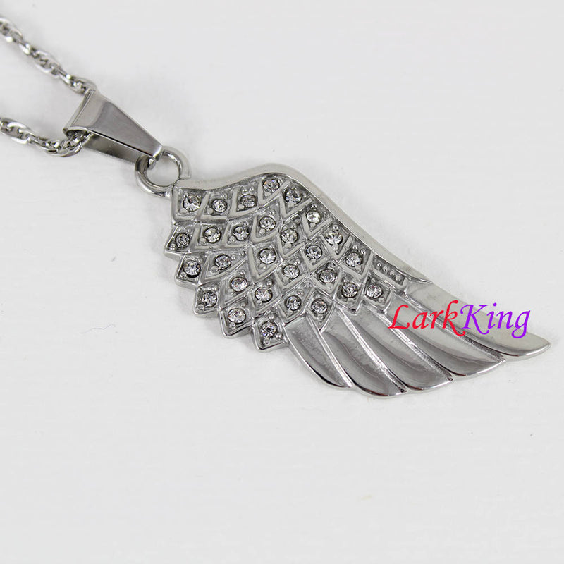 Stainless steel wing necklace, nature necklace, zircon crystal on wing, angel wing pendant, feather necklace, girl necklace, Larkking NE7116