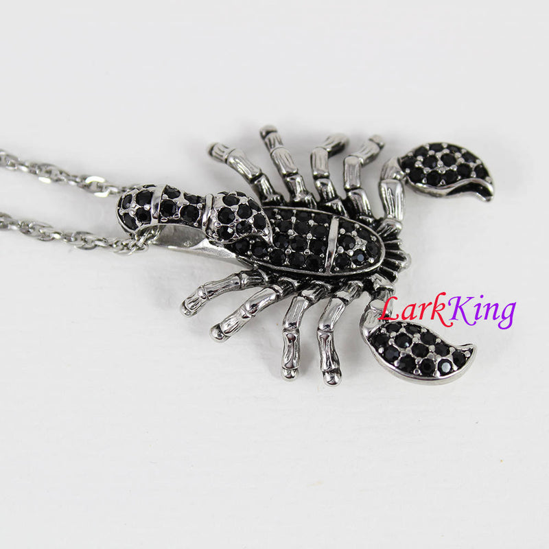 Stainless steel scorpion necklace, scorpion jewelry, scorpion pendant, insect necklace, nature necklace, scorpion gift, Larkking NE7117