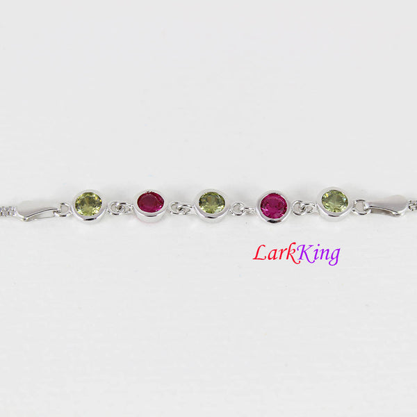 Sterling silver green red gemstone bracelet, zircon stone bracelet, unique bracelet, bridesmaid gift, gift for girlfriend, LarkKing LK9001