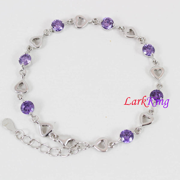 Sterling silver purple gemstone bracelet, zircon stone bracelet, silver heart chain, bridesmaid gift, gift for girlfriend, Larkking LK9003