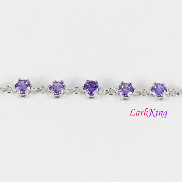 Sterling silver purple gemstone bracelet, zircon stone bracelet, unique silver chain, bridesmaid gift, gift for girlfriend, Larkking LK9006
