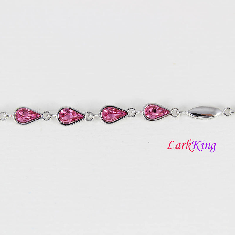 Sterling silver pink gemstone bracelet, pink zircon stone bracelet, ovary heart chain, bridesmaid gift, gift for girlfriend, Larkking LK9007