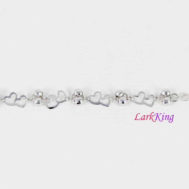 Sterling silver bracelet, double hearts and double balls silver chain, heart bracelet, bridesmaid gift, gift for girlfriend, Larkking LK9008