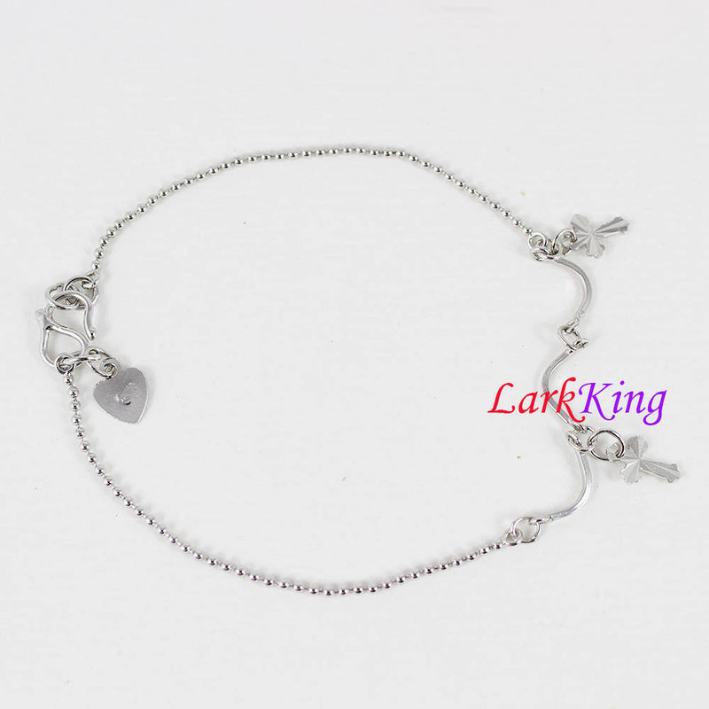 Sterling silver cross bracelet, cross silver chain, unique chain, girl bracelet, birthday gift, gift for girlfriend, Larkking LK9012