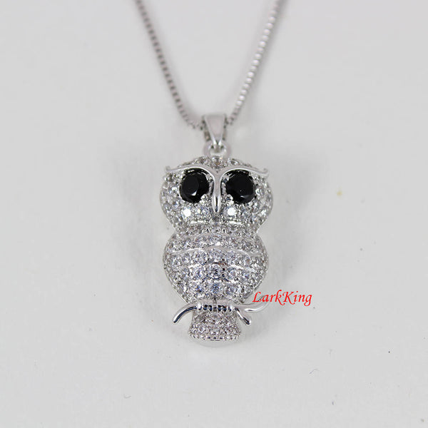 White gold plating stainless steel owl necklace, crystal owl on branch pendant, girl necklace, women necklace, Larkking NE4002