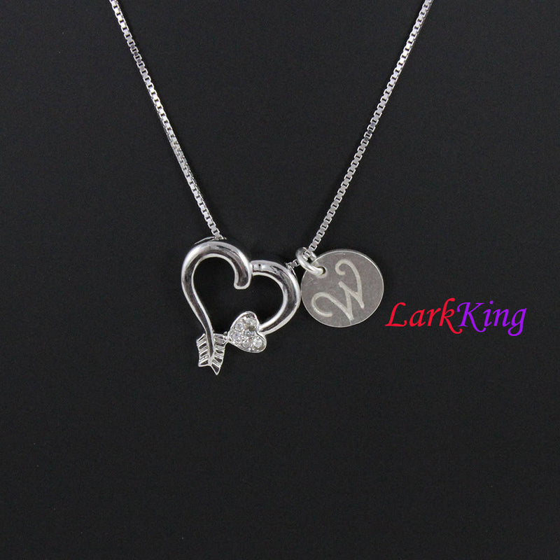 Sterling silver heart necklace, , arrow heart necklace, arrow love necklace, personalized necklace, charm necklace, sweet necklace, PN10