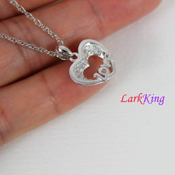 Sterling silver heart necklace, love necklace, silver with zircon crystal heart pendant, gift for girl friend, valentine's gift, LK9205